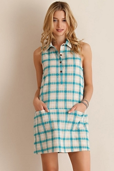 Smazy by Inance Gingham Crinkled Casual Dress