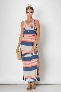 Inance Sleeveless Striped Maxi Dress, MADE IN THE USA