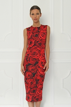 Disney + Sugarbird Designs Exclusive for Inance Beauty and the Beast Red Roses Midi Dress