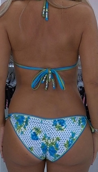Inance Handmade Blue Flowers Textured Fabric Bikini Bottoms