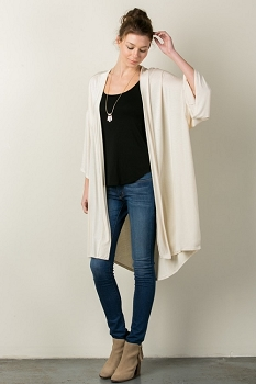 Inance I Woke Up Like This Kimono Cardigan - Milk / Coal - Made IN The USA