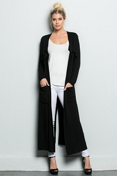 Inance Pocketful of Dreams Maxi Cardigan - Classic Black - Made In The USA