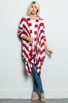 Inance Lazy Days Striped Cardigan - Cranberries and Cream - Made In The USA