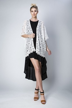 Inance My Heart in Your Hands Lace Cardigan - Cream or Black Lace -  Made In The USA
