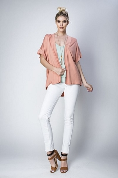 Inance Girls Just Wanna Cardigan - Boudoir Pink / Yoga Gray / Cream Dream / Black Sheen - Made In The USA