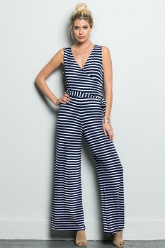 Inance Yacht Ready Jumpsuit - All Aboard Stripes in Black  or Blue - Made In The USA