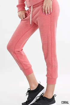 Smazy by Inance Make A Statement Thats True Fleece Drawstring Sweat Pants - Grey or Coral