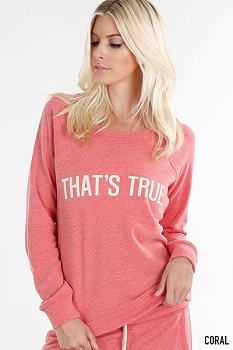 Smazy by Inance Make A Statement Thats True Fleece Sweatshirt - Grey, Coral, or Green