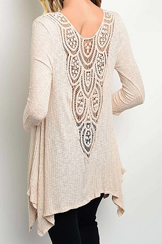 Smazy by Inance Crochet Back Loose Fit Tunic Top