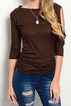 Smazy by Inance Open Sleeve Ribbed Gathered Top - 2 Color Choices