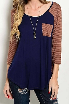 Smazy by Inance Cozy Casual Striped Two Toned Pocket Top