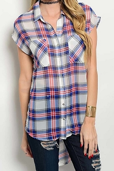 Smazy by Inance Plaid Button Down Tunic Top - 2 Color Choices
