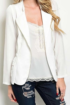 Smazy by Inance Elastic Waist Zipper Blazer - 3 Color Choices