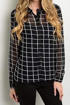 Smazy by Inance Checkered Button Down Top
