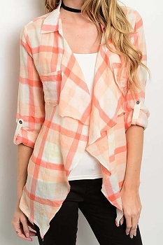 Smazy by Inance  Plaid Draped Cardigan Top