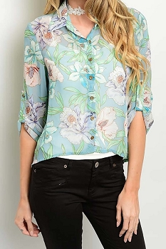 Smazy by Inance Floral Print Button Down Top