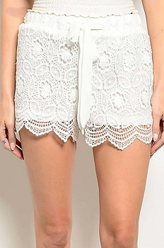 Smazy by Inance Solid Crochet  Tie Waist Shorts