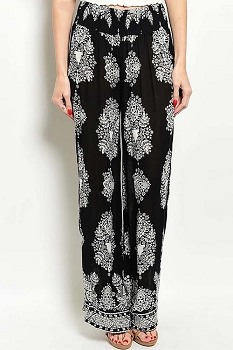 Smazy by Inance Geo Print Elastic Waist Pants