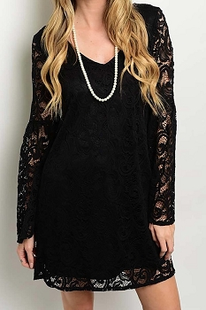 Smazy by Inance Lined Solid Lace Dress