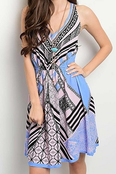 Smazy by Inance Open Back Multi Color Print Dress