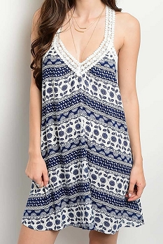 Smazy by Inance Crochet Loose Print Pattern Dress