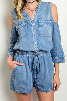 Smazy by Inance Cold Shoulder Denim Romper