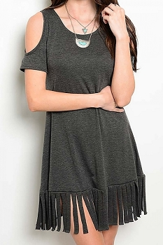 Smazy by Inance Laser Cut Loose Fit Off The Shoulder Dress - 2 Color Choices