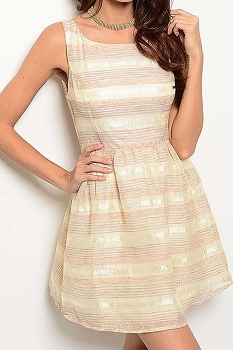Smazy by Inance Sleeveless Shiny Stripe Linen Dress