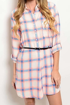 Smazy by Inance Belted Plaid Loose Fit Dress