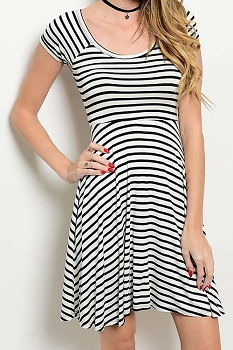Smazy by Inance Striped Cut Out Back Dress - 2 Color Choices