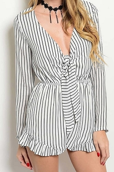 Smazy by Inance Tie Front Long Sleeve Romper - 2 Color Choices