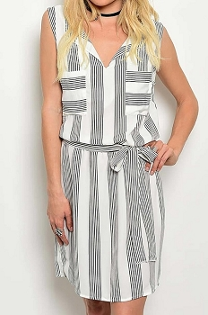 Smazy by Inance Tie Waist Striped Loose Fit Dress