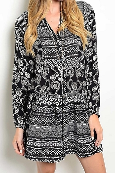 Smazy by Inance Geo Print Tie Waist Dress