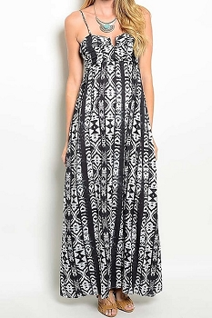 Smazy by Inance Tribal Print Spaghetti Strap Maxi Dress