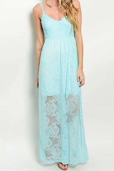 Smazy by Inance Solid Lined Lace Strap Maxi Dress