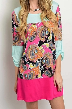 Smazy by Inance Paisley Print Loose Fit Dress