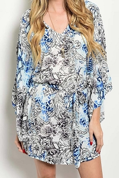 Smazy by Inance Print Tie Waist Dress