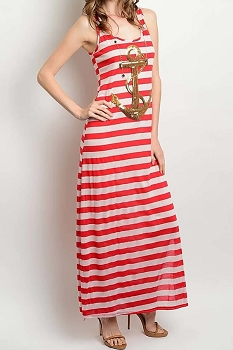Smazy by Inance Golden Anchor Striped Maxi Dress