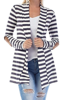 Smazy by Inance Striped Cardigan with Faux Suede Accents
