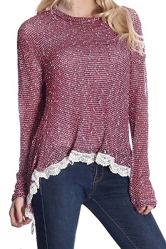 Smazy by Inance Lace Trim Split Back Top