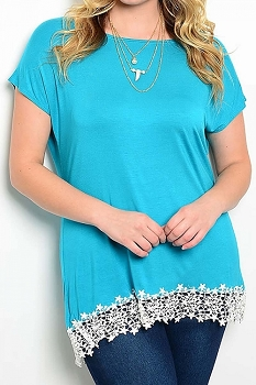 Smazy by Inance Curvy Plus Size Lace Detail Top - 2 Color Choices