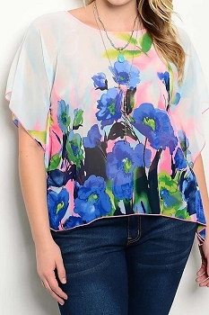 Smazy by Inance Curvy Plus Size Floral Print Top