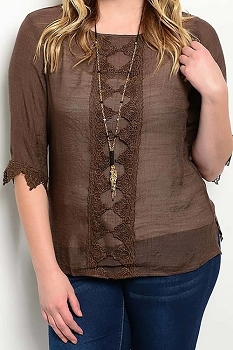 Smazy by Inance Curvy Plus Size Lace Trim Gathered Top - 3 Color Choices
