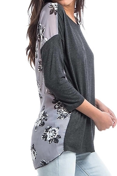 Smazy by Inance Flower Grey Drop Shoulder Top