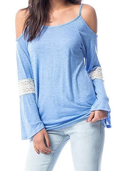Smazy by Inance Cold Shoulder Bell Sleeve Lace Accent Top - 2 Color Choices