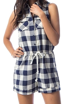 Smazy by Inance Plaid Drawstring Romper