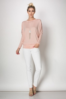 Inance Chilling with My Crew Neck Top - Ballet Slipper Pink / Summer Clouds White - Made In The USA