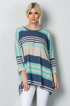 Inance Lazy Sunday Striped Tunic Top - All the Blues / Coral and Navy - Made In The USA