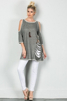 Inance Cutaway Chic Top - High-Fashion Gray - Made In The USA