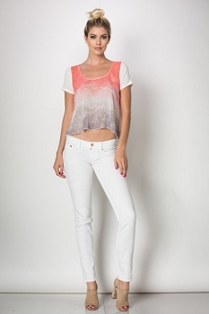 Inance Party Till Sunrise Top in Electric Coral / Chilled Out Cyan - Made In The USA